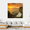 Sunset At Uluwatu Temple Bali Canvas Wall Art-4 Square-Small-Gallery Wrap-Tiaracle
