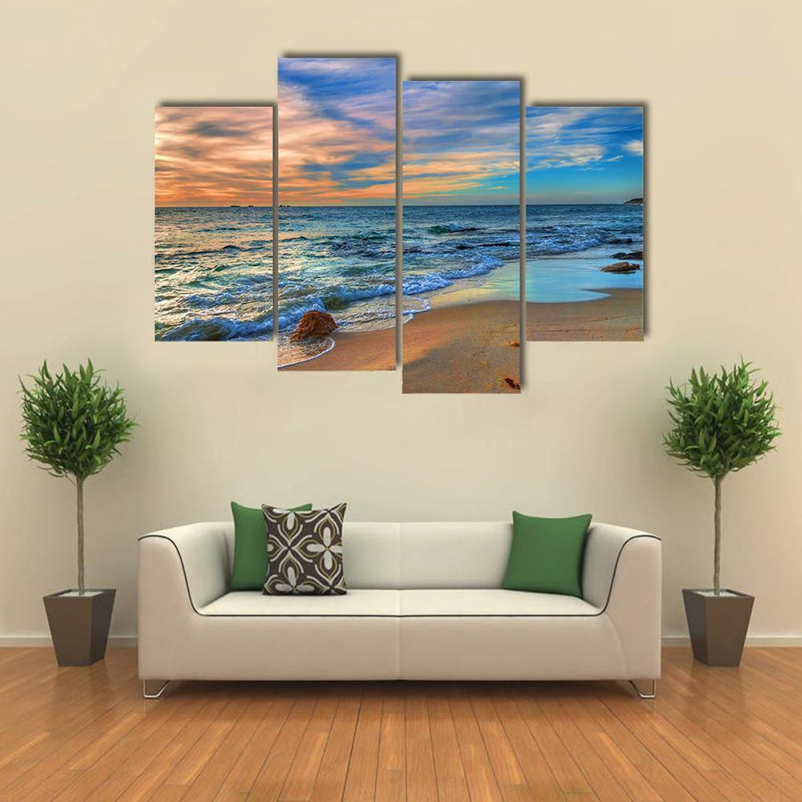 Sunset Beach Perth Western Australia Multi Panel Canvas Wall Art 3 Pieces / Medium / Canvas Tiaracle