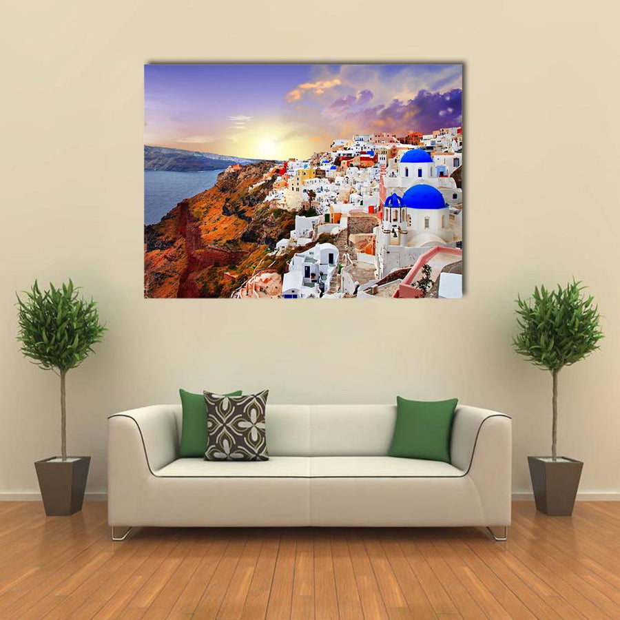 Sunset In Santorini Multi Panel Canvas Wall Art-4 Horizontal-Small-Gallery Wrap-Tiaracle