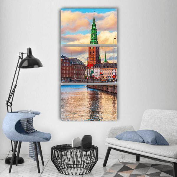 Sunset In The Old Town Of Copenhagen Vertical Canvas Wall Art 1 Vertical / Small / Gallery Wrap Tiaracle