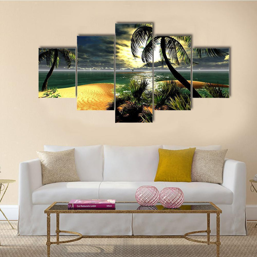 Hawaiian Sunset In Tropical Paradise Canvas Panel Painting Tiaracle
