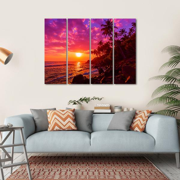 Sunset On Beach With Palm Trees Canvas Wall Art-1 Piece-Small-Gallery Wrap-Tiaracle