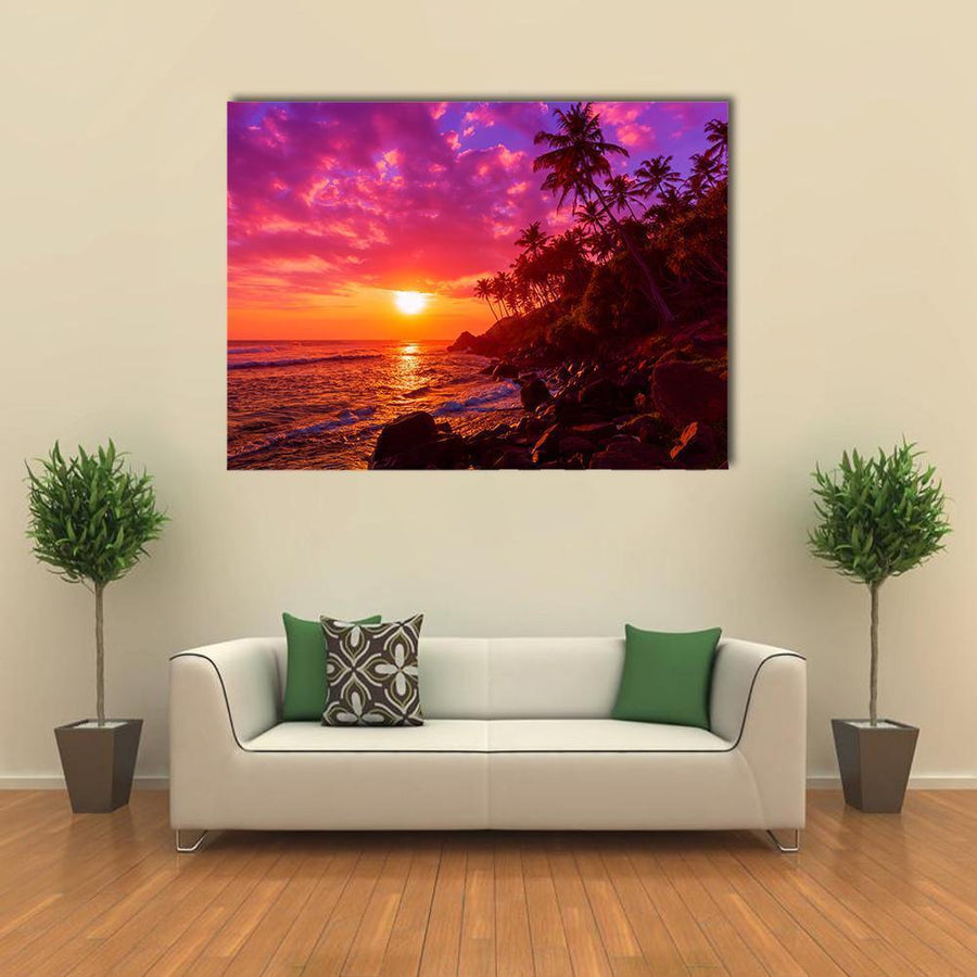 Sunset On Beach With Palm Trees Canvas Panel Painting Tiaracle
