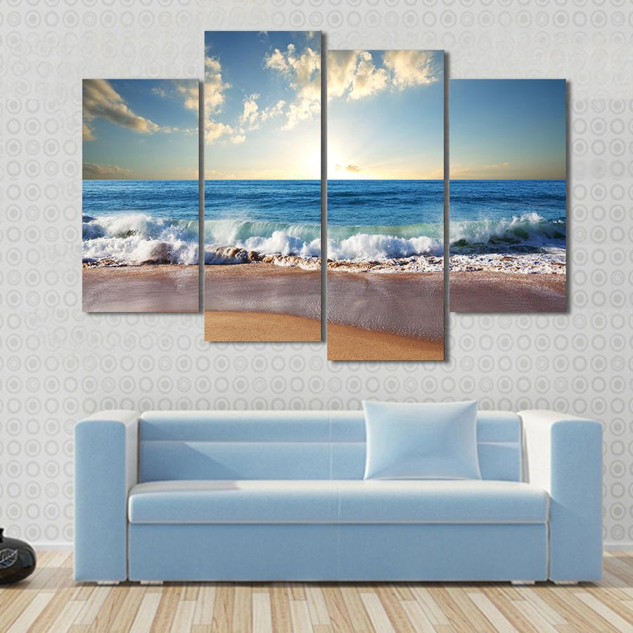 Sunset On Beach With Strong Ocean Waves Canvas Panel Painting Tiaracle
