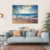 Sunset On Beach With Strong Ocean Waves Multi Panel Canvas Wall Art 4 Horizontal / Small / Gallery Wrap Tiaracle