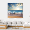 Sunset On Beach With Strong Ocean Waves Multi Panel Canvas Wall Art 4 Square / Small / Gallery Wrap Tiaracle