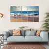 Sunset On Beach With Strong Ocean Waves Multi Panel Canvas Wall Art 5 Horizontal / Small / Gallery Wrap Tiaracle