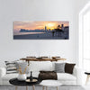 Sunset On Benidorm Beach In Spain Panoramic Canvas Wall Art 1 Piece / Small Tiaracle
