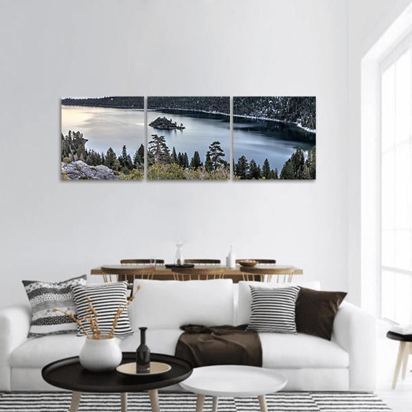 Sunset On Emerald Bay Panoramic Canvas Wall Art Tiaracle