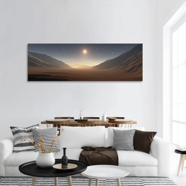 Sunset On Mars Panoramic Canvas Wall Art Tiaracle