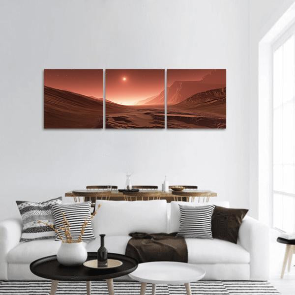 Sunset On Mars Panoramic Canvas Wall Art 1 Piece / Small Tiaracle