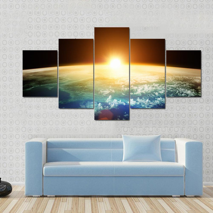 Beautiful Sunset On Planet Earth Canvas Panel Painting Tiaracle