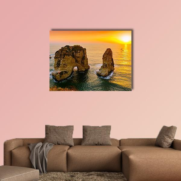 Sunset On Raouche Pigeons Rock Multi Panel Canvas Wall Art 4 Pieces / Medium / Canvas Tiaracle