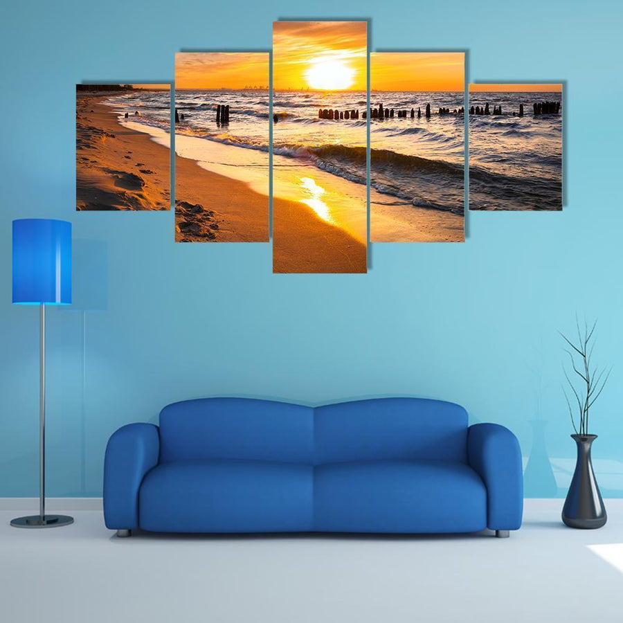 Sunset Over Baltic Sea Beach Multi Panel Canvas Wall Art 5 Pieces(A) / Medium / Canvas Tiaracle