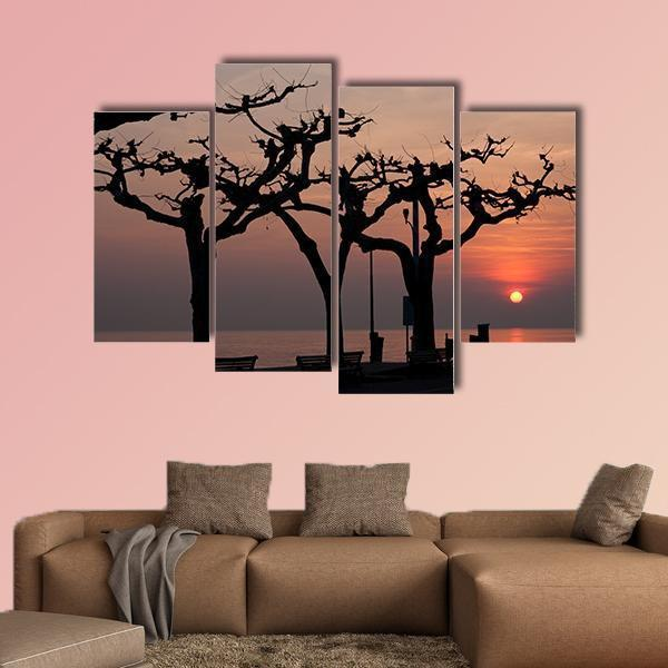 Sunset Over Garda Lake Multi Panel Canvas Wall Art 3 Pieces / Small / Gallery Wrap Tiaracle