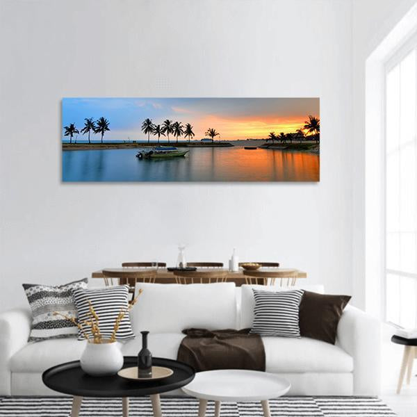 Sunset Over Island Of Malaysia Panoramic Canvas Wall Art 3 Piece / Small Tiaracle