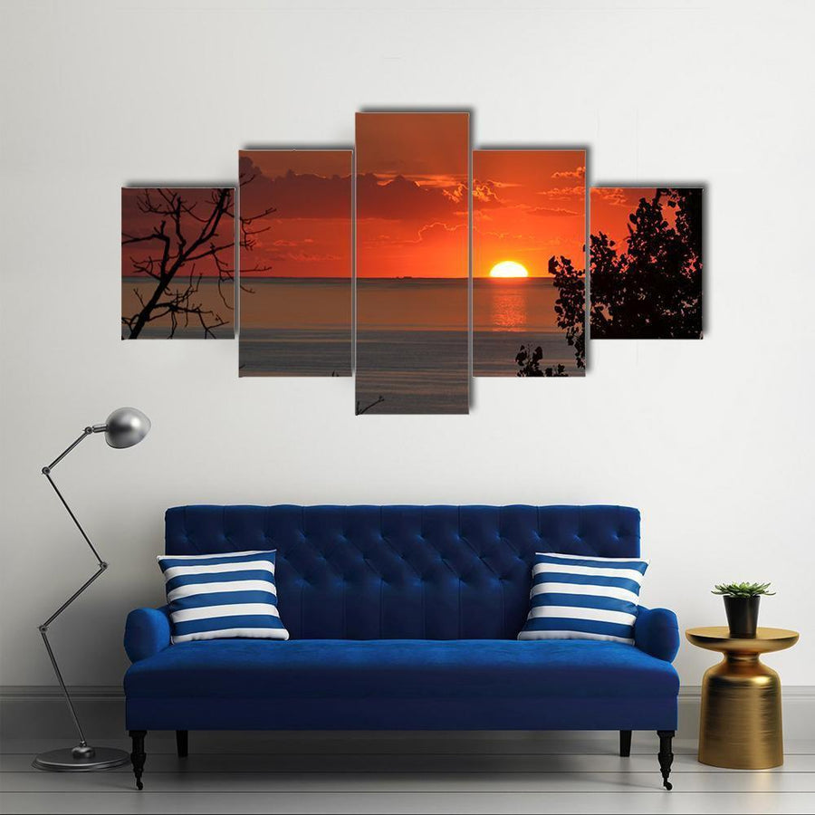 Sunset Over Lake Michigan Multi Panel Canvas Wall Art 1 Piece / Medium / Canvas Tiaracle