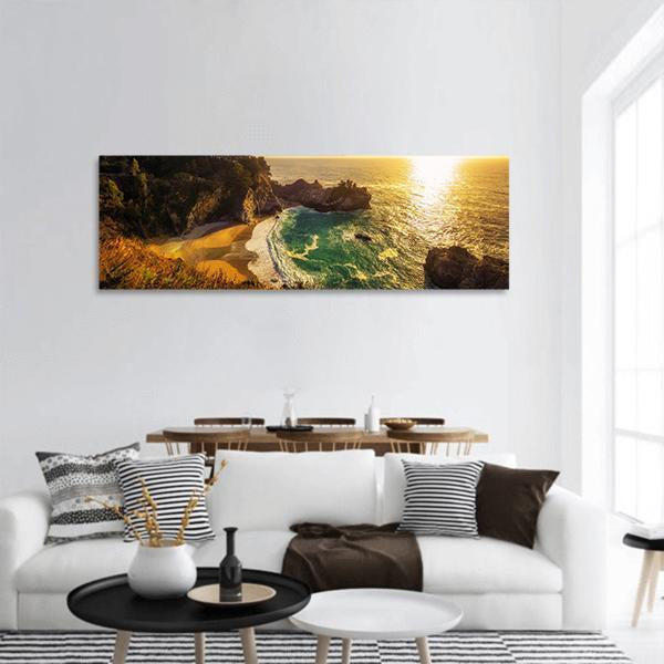 Sunset Over Pacific Coast Highway In California Panoramic Canvas Wall Art Tiaracle