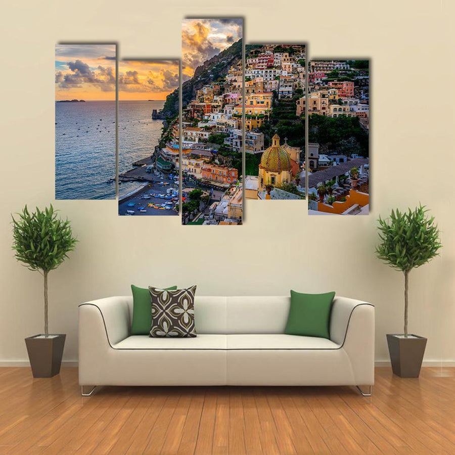 Beautiful Sunset Over Positano At Amalfi Coast Multi Panel Canvas Wall Art 1 Piece / Medium / Canvas Tiaracle