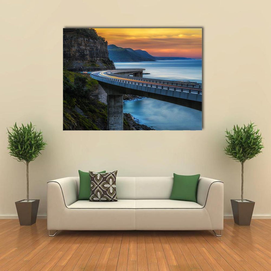 Sunset Over The Sea Cliff Bridge Canvas Wall Art