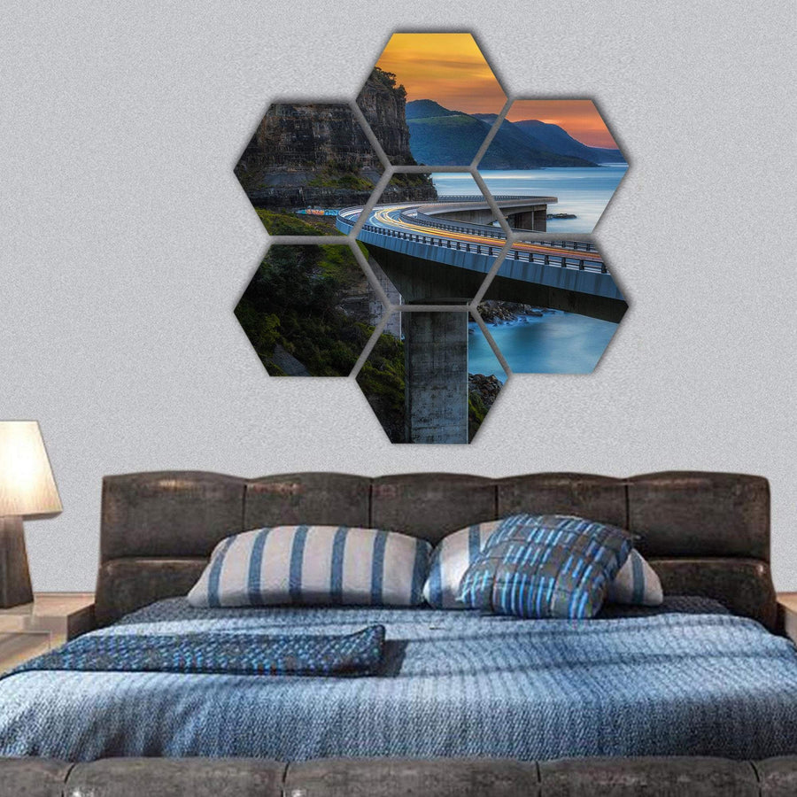 Sunset Over The Sea Cliff Bridge Hexagonal Canvas Wall Art 1 Hexa / Small / Gallery Wrap Tiaracle