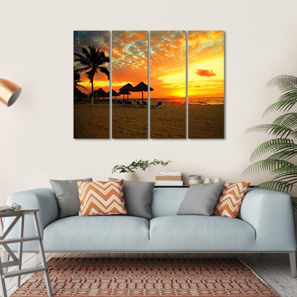 Sunset Scene At Tropical Beach Resort Silhouette Multi Panel Canvas Wall Art 1 Piece / Small / Gallery Wrap Tiaracle
