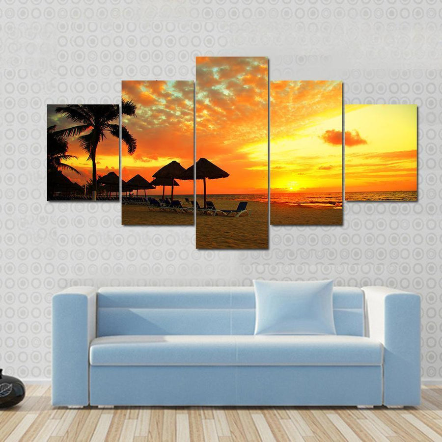 Sunset Scene At Tropical Beach Resort Silhouette Canvas Panel Painting Tiaracle