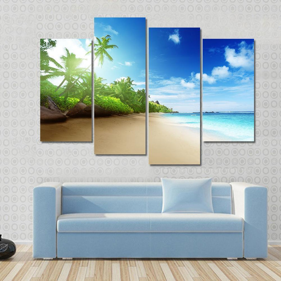 Beach In Sunset Time On Mahe Island Canvas Panel Painting Tiaracle