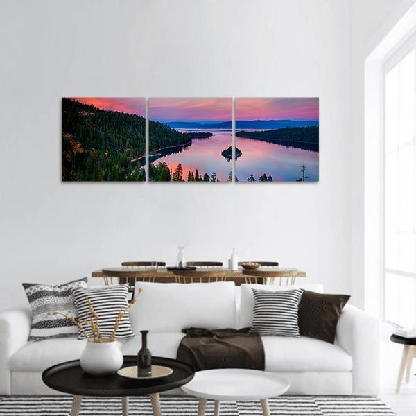 Sunset View Of A Lake Tahoe Panoramic Canvas Wall Art 1 Piece / Small Tiaracle