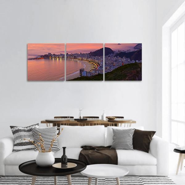 Sunset View Of Copacabana Beach Panoramic Canvas Wall Art 1 Piece / Small Tiaracle