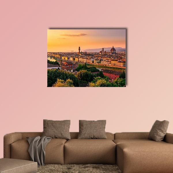 Sunset View Of Florence Multi Panel Canvas Wall Art 3 Pieces / Medium / Canvas Tiaracle