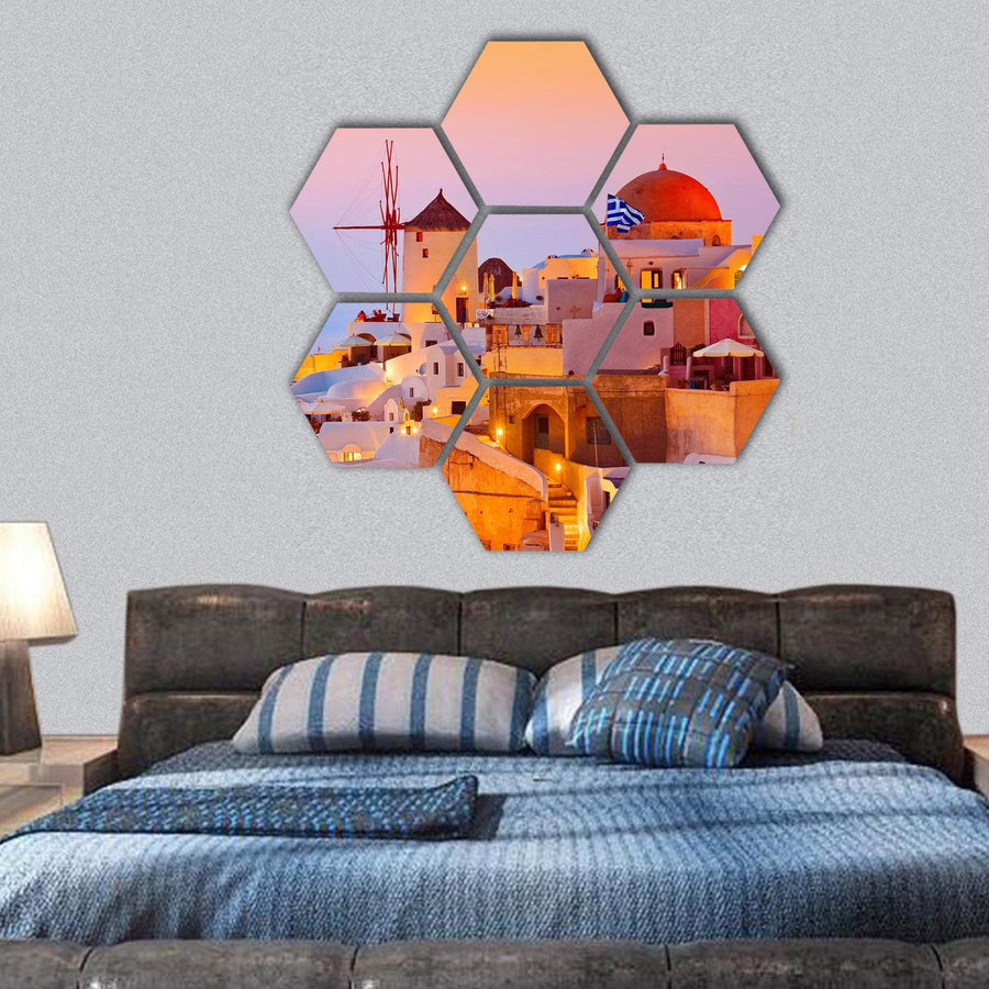 Sunset View On Santorini Island Greece Hexagonal Canvas Wall Art 1 Hexa / Small / Gallery Wrap Tiaracle