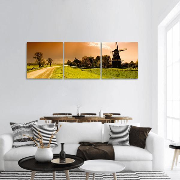 Sunset Windmill Landscape In Netherlands Panoramic Canvas Wall Art 1 Piece / Small Tiaracle