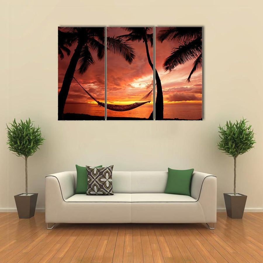 Beautiful Sunset With Palm Trees Canvas Panel Painting Tiaracle
