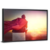 Superhero With Sunset Canvas Wall Art