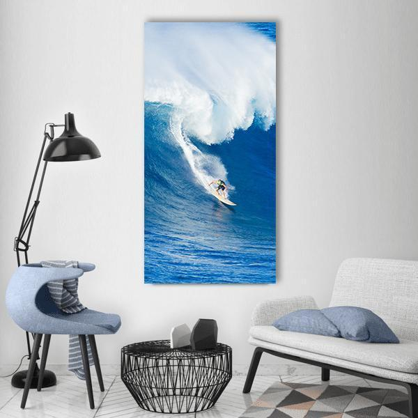 Surfer Riding Against Ocean Wave Vertical Canvas Wall Art 3 Vertical / Small / Gallery Wrap Tiaracle