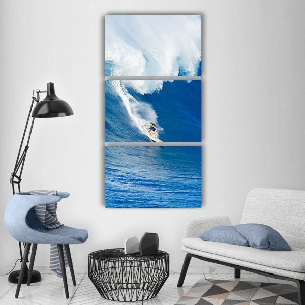 Surfer Riding Against Ocean Wave Vertical Canvas Wall Art 1 Vertical / Small / Gallery Wrap Tiaracle