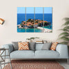 Sveti Stefan In Daylight, Montenegro Multi Panel Canvas Wall Art 4 Horizontal / Small / Gallery Wrap Tiaracle