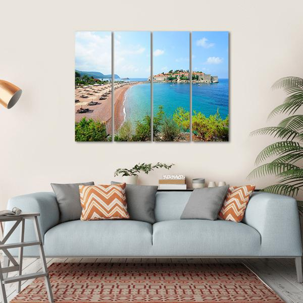 Sveti Stefan Island Multi Panel Canvas Wall Art 5 Horizontal / Small / Gallery Wrap Tiaracle