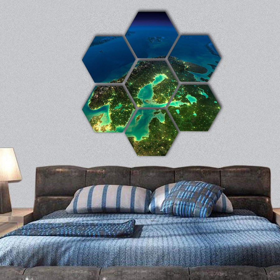 Sweden From Space Hexagonal Canvas Wall Art 1 Hexa / Small / Gallery Wrap Tiaracle