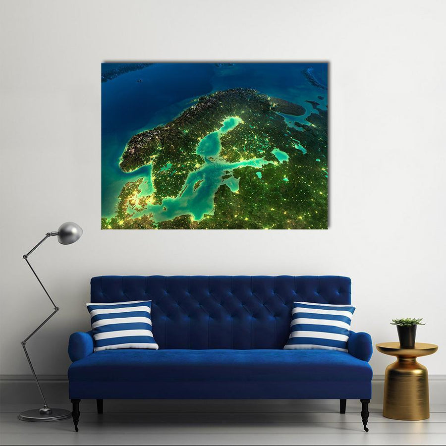 Sweden From Space Multi Panel Canvas Wall Art-4 Horizontal-Small-Gallery Wrap-Tiaracle