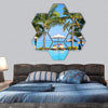 Swimming Pool With Lounge Chairs Hexagonal Canvas Wall Art 7 Hexa / Small / Gallery Wrap Tiaracle