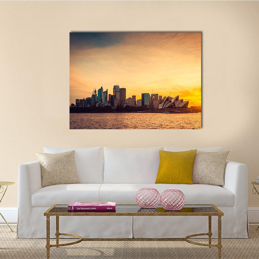 Sydney City View At Sunset Canvas Wall Art-5 Horizontal-Small-Gallery Wrap-Tiaracle