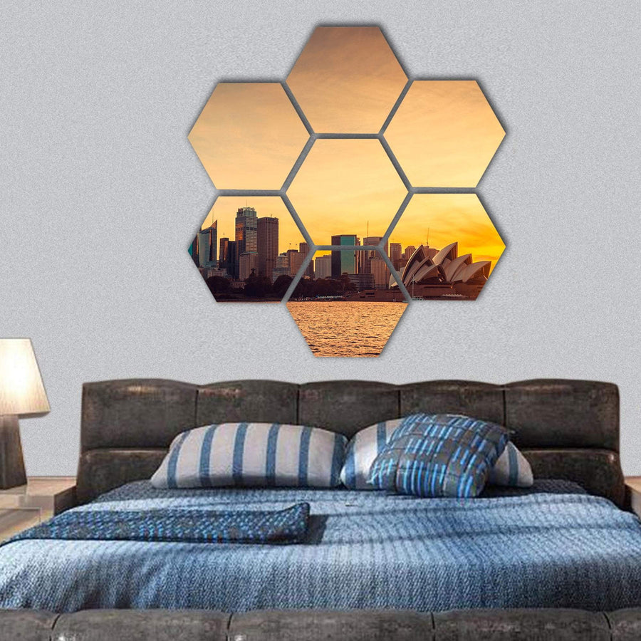 Sydney City View At Sunset Hexagonal Canvas Wall Art 1 Hexa / Small / Gallery Wrap Tiaracle