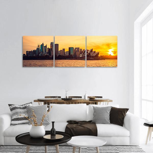 Sydney City View At Sunset Panoramic Canvas Wall Art Tiaracle