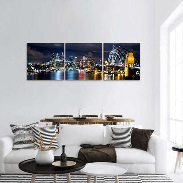 Sydney Harbor And Downtown Buildings Panoramic Canvas Wall Art Tiaracle