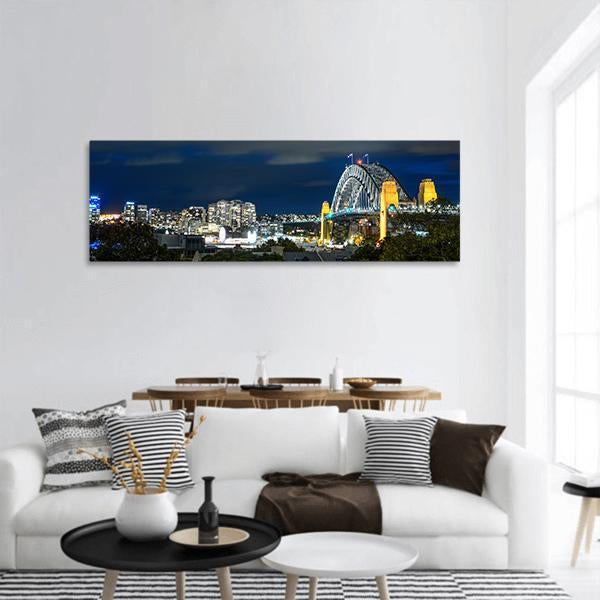 Sydney Harbour Bridge Panoramic Canvas Wall Art 3 Piece / Small Tiaracle