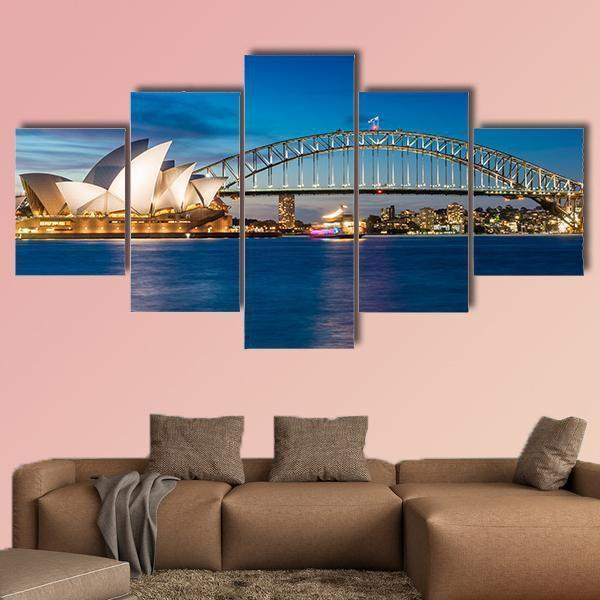 Sydney Harbour In New South Wales Multi Panel Canvas Wall Art 3 Pieces / Medium / Canvas Tiaracle