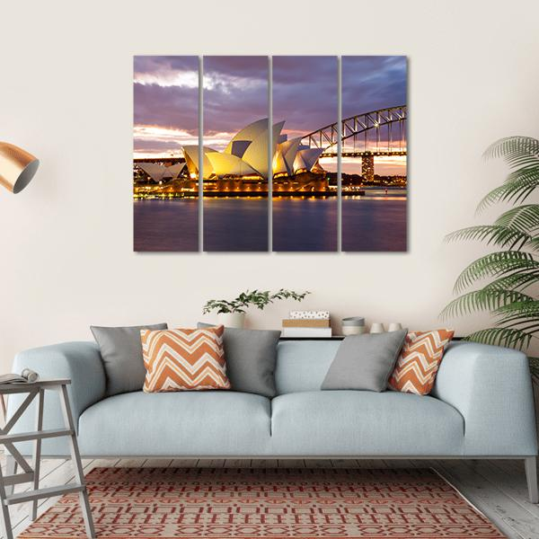 Sydney Opera House At Dusk Multi Panel Canvas Wall Art-1 Piece-Small-Gallery Wrap-Tiaracle