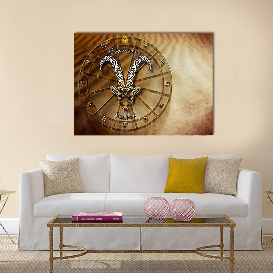 Symbol Of Capricorn Horoscope Multi Panel Canvas Wall Art 4 Square / Small / Gallery Wrap Tiaracle